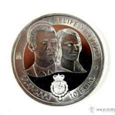 Euros: 10 EUROS EN PLATA. FELIPE Y LETIZIA. JUAN CARLOS I Y SOFIA. 22-V-2004.. Lote 113070823