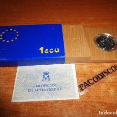 Euros: 1 ECU DE PLATA LEY 1989 SIN CIRCULAR CAJA DE MADERA ESTUCHE DE CARTON PRIMERA EMISION ESPAÑA EURO. Lote 113420959