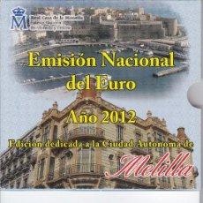 Euros: CARTERA OFICIAL DE LA COMUNIDAD DE MELILLA DEL AÑO 2012 CON 10 MONEDAS DE EURO + MEDALLA DE PLATA. Lote 213978660
