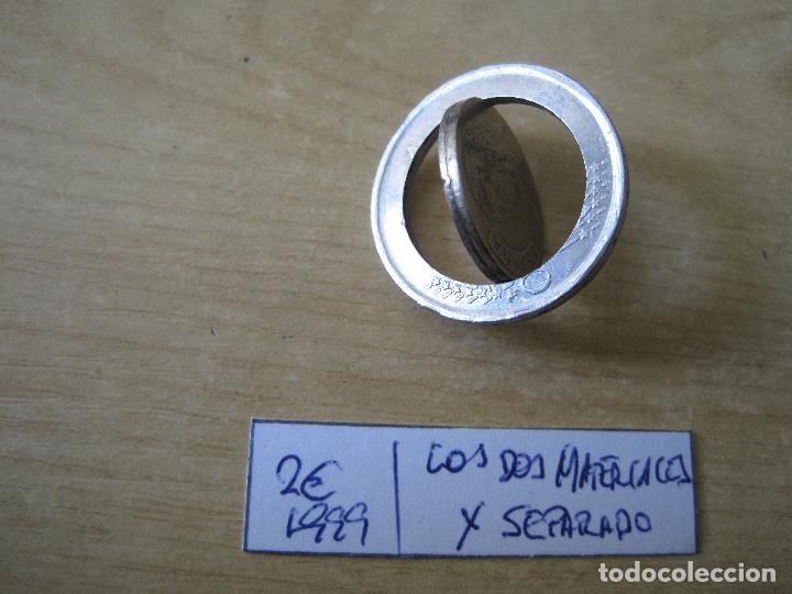 MONEDA DE 2 EUROS ESPAÑA 1999 RAREZA LOS DOS MATERIALES X SEPARADO (Numismática - España Modernas y Contemporáneas - Ecus y Euros)