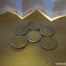 Euros: MONEDAS DE 2 EUROS ESPAÑA REY EN TIRAS DE PAPEL ECO DE 1999 A 2004. Lote 114970683
