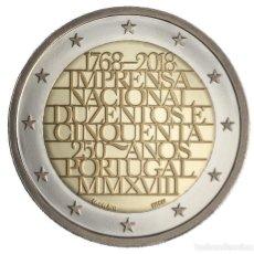 Euros: PORTUGAL 2018 2€ 250 AÑOS OFICINA NACIONAL DE IMPRENTA. Lote 126066227