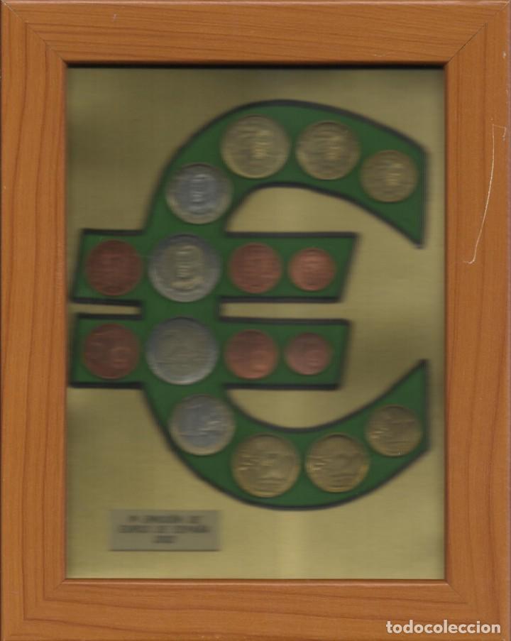 PRIMERA EMISIÓN DE EUROS DE ESPAÑA 2002. ENMARCADO. DOBLE COLECCIÓN REVERSO Y ANVERSO. (Numismática - España Modernas y Contemporáneas - Ecus y Euros)