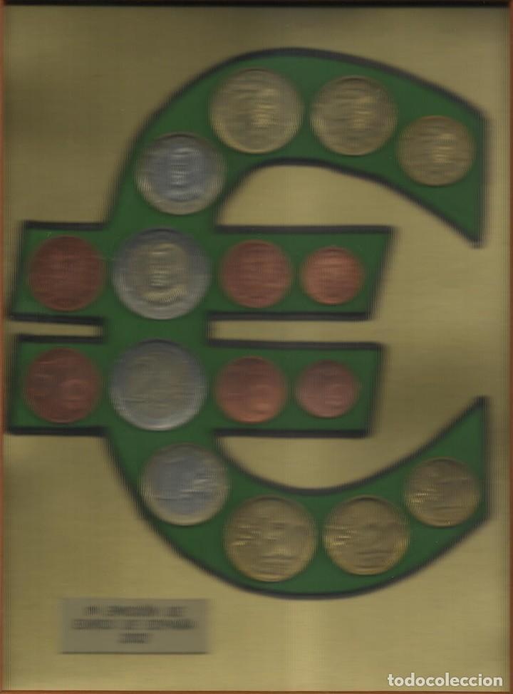 Euros: PRIMERA EMISIÓN DE EUROS DE ESPAÑA 2002. ENMARCADO. DOBLE COLECCIÓN REVERSO Y ANVERSO. - Foto 2 - 131443894