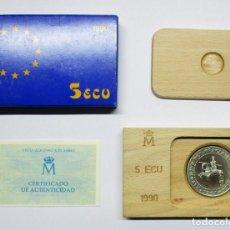 Euros: 5 ECU 1990. ALFONSO X EL SABIO, EN PLATA DE 925/000. FDC. LOTE 1190. Lote 133235194