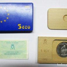 Euros: 5 ECU 1991: AVERROES, FILOSOFO Y CIENTÍFICO HISPANO-MUSULMAN. PLATA DE 925/000 FDC. LOTE 1189. Lote 133235654