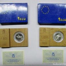 Euros: JUAN CARLOS I, 1989. DOS MONEDAS DE 1 ECU DE PLATA. RAPTO DE EUROPA. FDC. LOTE 1192. Lote 133242670