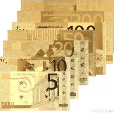 Euros: LOTE SERIE COMPLETA DE 7 BILLETES EUROS LÁMINA DORADA ENVÍO GRATIS. Lote 211728125