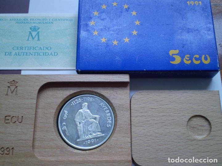 MONEDA DE 5 ECUS 1991 AVERROES. CONTENIDO 1 ONZA TROY DE PLATA PROOF (Numismática - España Modernas y Contemporáneas - Ecus y Euros)