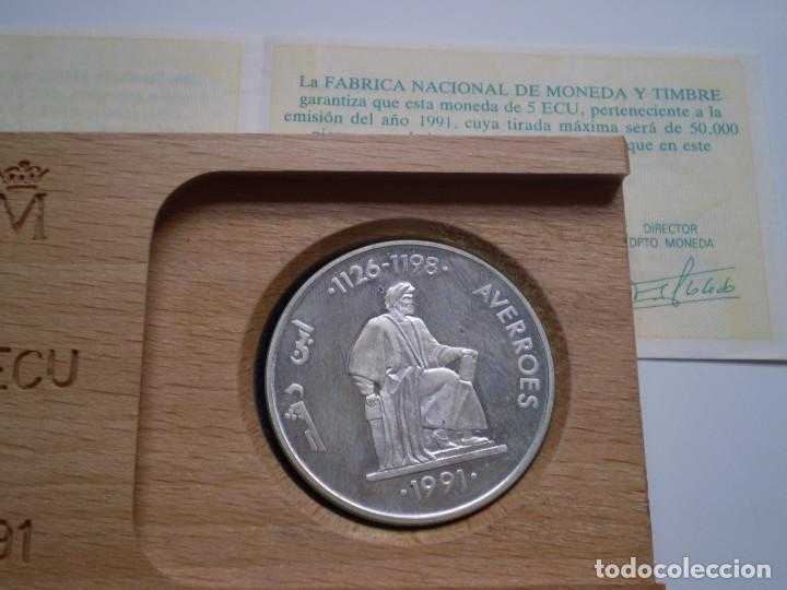 Euros: Moneda de 5 ECUS 1991 Averroes. Contenido 1 ONZA TROY DE PLATA PROOF - Foto 2 - 138683070