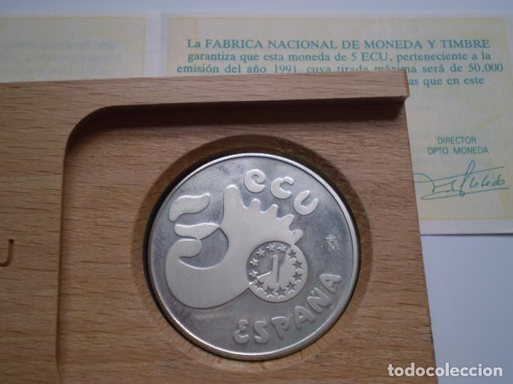 Euros: Moneda de 5 ECUS 1991 Averroes. Contenido 1 ONZA TROY DE PLATA PROOF - Foto 3 - 138683070