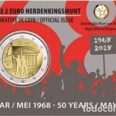 Euros: BELGICA 2018. COINCARD DE 2 EUROS CONMEMORATIVA DE MAYO DEL 68. VERSION ALEMANA. Lote 206301137