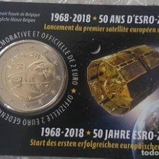 Euros: BELGICA 2018. COINCARD DE 2 EUROS CONMEMORATIVA DEL ESRO 2B. VERSION FRANCESA. Lote 206300967