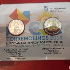 Euros: ESPAÑA TORREMOLINOS 2014 CARTERA 2 EUROS Y MEDALLA FNMT. Lote 143383092