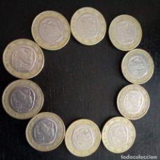 Euros: LOTE DE 10 MONEDAS DE 1 EURO CON EL BÚHO DE LA SUERTE, EL BÚHO DE ATENEA DE GRECIA. Lote 147493922