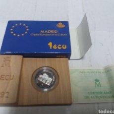 Euros: ECU PUERTA DE ALCALÁ CERTIFICADO DE AUTENTICIDAD 1992. Lote 151860369