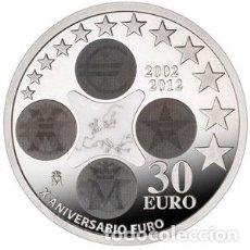 Euros: ESPAÑA 2012. MONEDA DE PLATA DE 30 EUROS CONMEMORATIVA DEL X ANIVERSARIO DEL EURO. Lote 187471063