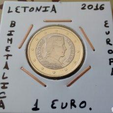 Euros: MONEDA 1 EURO LETONIA 2016 MBC ENCARTONADA. Lote 187424325
