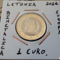 Euros: MONEDA 1 EURO LETONIA 2014 MBC ENCARTONADA. Lote 222431033