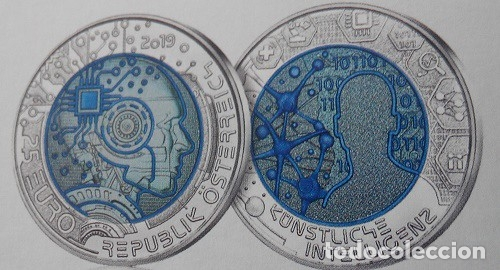 AUSTRIA 2019. MONEDA DE 25 EUROS DE NIOBIO. INTELIGENCIA ARTIFICIAL. CON CAJA Y CERTFICADO (Numismática - España Modernas y Contemporáneas - Ecus y Euros)