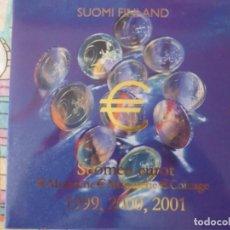 Euros: 3 CARTERAS EUROS FINLANDIA AÑOS 1999 - 2000 - 2001 SIN CIRCULAR 24 PIEZAS UN ESTUCHE. Lote 171087085