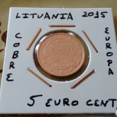 Euros: MONEDA 5 EURO CENT LITUANIA 2015 EBC ENCARTONADA. Lote 171734038