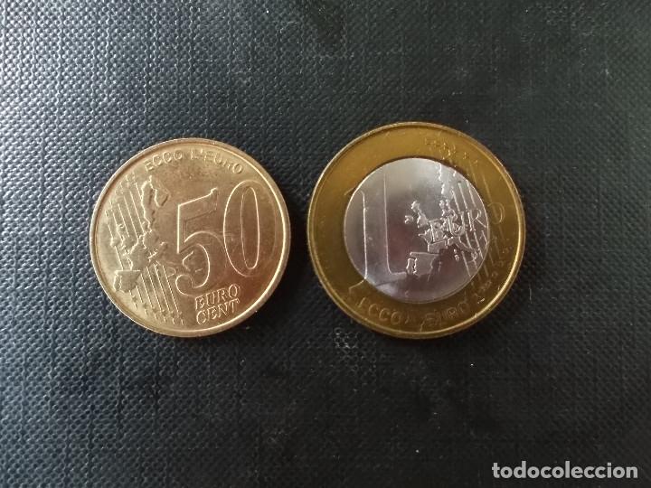 Euros: 2 monedas de ECU Italia 1 euro y 50 cent - Foto 4 - 172781150