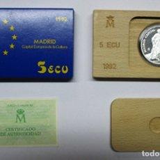 Euros: 5 ECU 1992. MADRID CAPITAL DE LA CULTURA EUROPEA, EN PLATA DE 925/000. FDC. LOTE 1807. Lote 173581385
