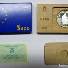 Euros: 5 ECU 1991: AVERROES, FILOSOFO Y CIENTÍFICO HISPANO-MUSULMAN. PLATA DE 925/000 FDC. LOTE 1808. Lote 173581862