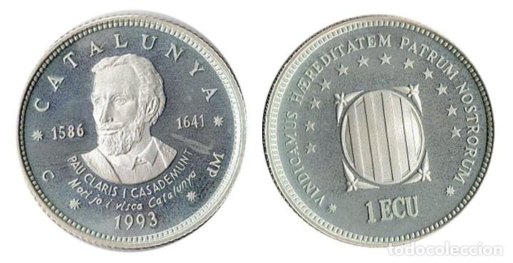 UN ECU DE CATALUNYA 1993 PAU CLARIS Y CASADEMUNT PLATA (Numismática - España Modernas y Contemporáneas - Ecus y Euros)