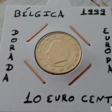 Euros: MONEDA 10 EURO CENT BÉLGICA 1999 MBC ENCARTONADA. Lote 177137177