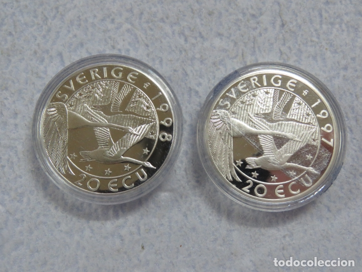 SUECIA - SVERIGE- 2 MONEDAS DE 20 ECUA EN PLATA PURA 999 CALIDAD PROOF, AÑOS 1997-1998, SOLO 1500 (Numismática - España Modernas y Contemporáneas - Ecus y Euros)