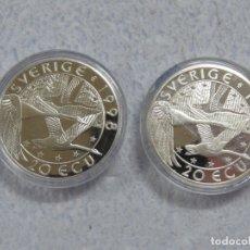 Euros: SUECIA - SVERIGE- 2 MONEDAS DE 20 ECUA EN PLATA PURA 999 CALIDAD PROOF, AÑOS 1997-1998, SOLO 1500 . Lote 177419917