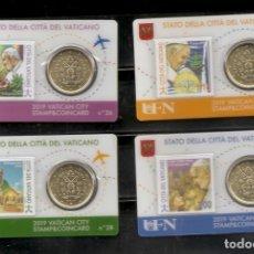 Euros: VATICANO 2019. STAMP & COINCARD Nº 26, 27, 28 Y 29.. Lote 194586481