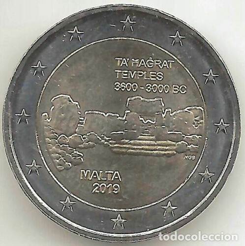 2 EUROS MALTA 2019 TEMPLOS TA HAGRAT (Numismática - España Modernas y Contemporáneas - Ecus y Euros)