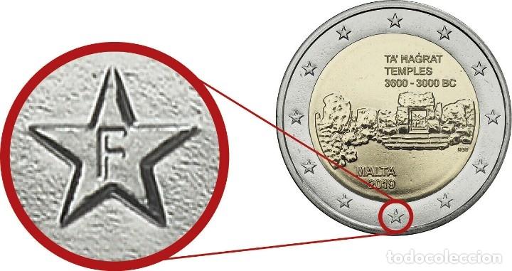 2 EUROS MALTA 2019 TA'HAGRAT 2019 CECA F SC (Numismática - España Modernas y Contemporáneas - Ecus y Euros)