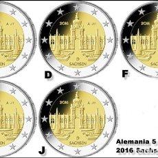 Euros: ALEMANIA 5 X 2 EUROS 2016 ADFGJ CONM. SAJONIA - SIN CIRCULAR - . Lote 182951657