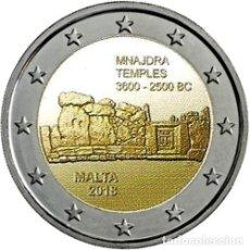 Euros: MALTA 2 EUROS 2018 CONM. TEMPLOS DE MNAJDRA - SIN CIRCULAR - . Lote 182987086