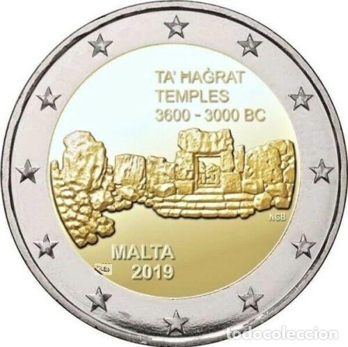 MALTA 2 EUROS 2019 CONM. CENT. TEMPLOS DE TA HAGRAT - SIN CIRCULAR - (Numismática - España Modernas y Contemporáneas - Ecus y Euros)