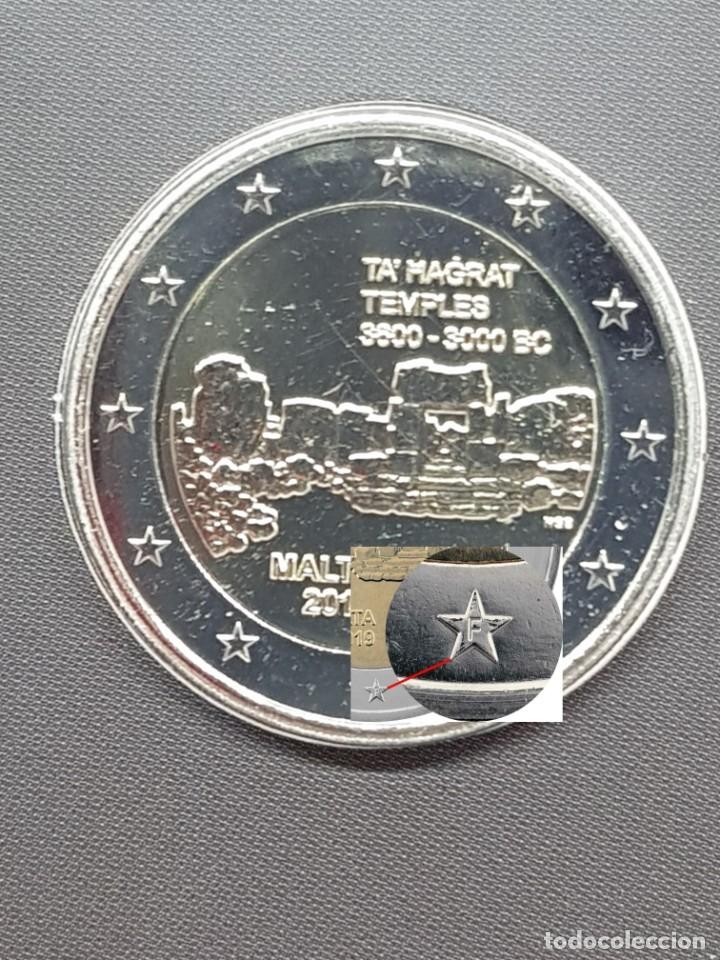 MALTA 2 EUROS 2019 CONM. TEMPLOS DE TA HAGRAT - CON MARCA DE CECA F MDP - DE ROLLO (Numismática - España Modernas y Contemporáneas - Ecus y Euros)