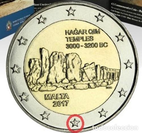 MALTA 2 EUROS 2017 CONM. TEMPLOS DE HAGAR QIM - CON MARCA DE CECA F MDP - (Numismática - España Modernas y Contemporáneas - Ecus y Euros)