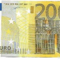 Euros: BILLETE 200 EUROS 2002 FIRMA DUISENBERG SERIE X PLANCHA R001D1 MUY POCO CIRCULADO. Lote 183760345