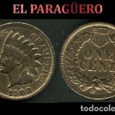 Euros: ESTADOS UNIDOS 1 CENTIMO DE 1908 ( JEFE INDIO ) MONEDA ORIGINAL - Nº2. Lote 184319371