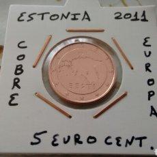 Euros: MONEDA 5 EURO CENT ESTONIA 2011 MBC ENCARTONADA. Lote 188603111