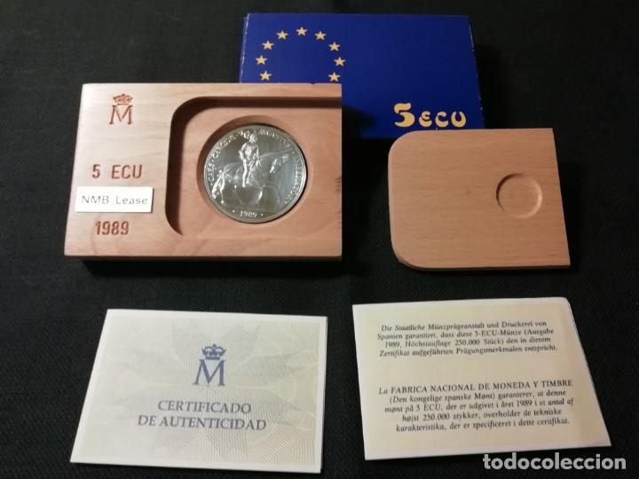 MONEDA 5 ECUS DE PLATA CARLOS V AÑO 1989 (Numismática - España Modernas y Contemporáneas - Ecus y Euros)