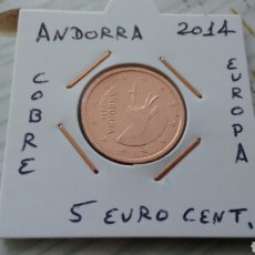 Euros: ANDORRA 5 EURO CENT 2014 EBC ENCARTONADA. Lote 193915338