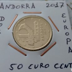 Euros: ANDORRA 50 EURO CENT 2017 EBC ENCARTONADA. Lote 193915570