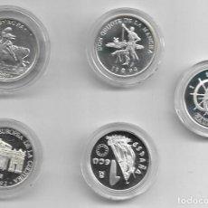 Euros: CINCO MONEDAS DE PLATA DE UN ECU DE ESPAÑA. Lote 193957216