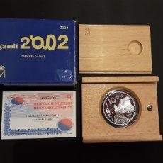 Euros: MONEDA 10 EUROS ESPAÑA GAUDI 2002 PARQUE GÜELL CON CERTIFICADO Y ESTUCHE. Lote 194201427