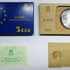Euros: 5 ECU 1992. MADRID CAPITAL DE LA CULTURA EUROPEA, EN PLATA DE 925/000. FDC. LOTE 2300. Lote 194491858